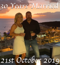 Man and Women celebrating thiier 30th Wedding Anniversary