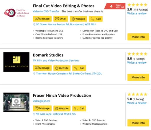 Yell.com listing